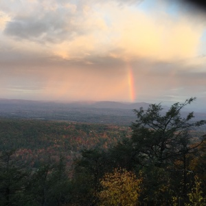 Rainbow on morning mindfulness walk at Mohonk House.